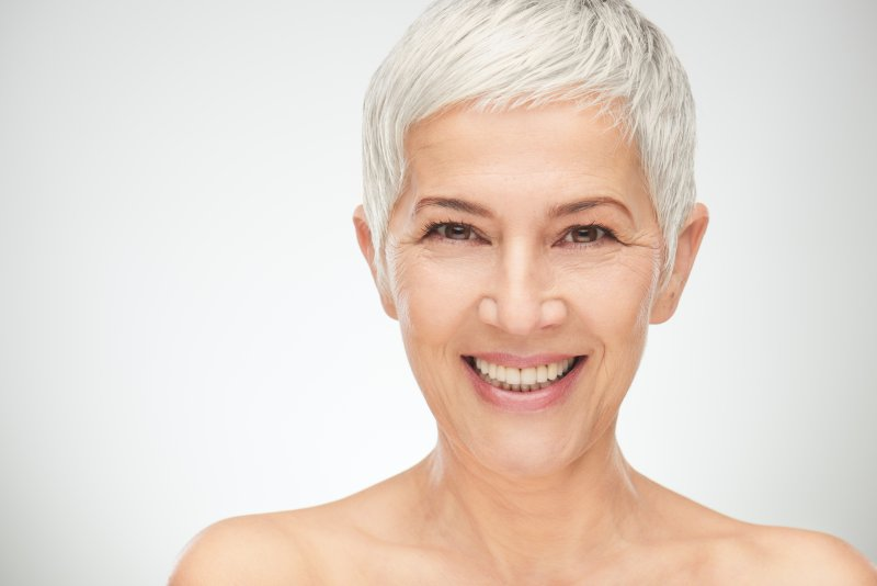older woman smiling with gorgeous teeth